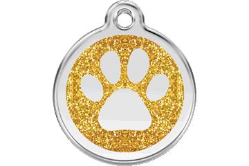 Red Dingo Glitter Enamel Tag Paw Prints Gold 0X-PP-GO (XPPGOS / XPPGOM / XPPGOL)