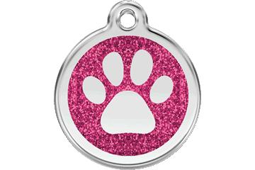 Red Dingo Glitter Enamel Tag Paw Prints Hot Pink 0X-PP-HP (XPPHPS / XPPHPM / XPPHPL)