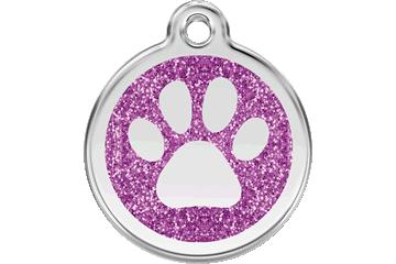 Red Dingo Glitter Enamel Tag Paw Prints Purple 0X-PP-PU (XPPPS / XPPPM / XPPPL)