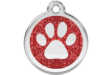 Red Dingo Glitter Enamel Tag Paw Prints Red 0X-PP-RE (XPPRS / XPPRM / XPPRL)