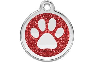 Red Dingo Glitter Enamel Tag Paw Prints Rouge 0X-PP-RE (XPPRS / XPPRM / XPPRL)