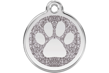 Red Dingo Glitzer Emaille Marke Paw Prints Silber 0X-PP-SI (XPPSIS / XPPSIM / XPPSIL)