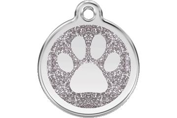 Red Dingo Glitter Enamel Tag Paw Prints Silver 0X-PP-SI (XPPSIS / XPPSIM / XPPSIL)