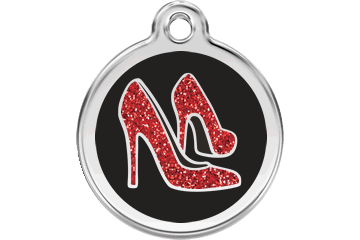 Red Dingo Glitter Enamel Tag Red Shoe Black 0X-RS-BB (XRSBS / XRSBM / XRSBL)