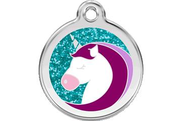 Red Dingo Glitter Enamel Tag Unicorn Aqua 0X-UC-AQ (XUCAL / XUCAM / XUCAS)