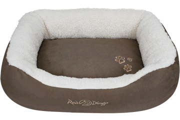 Red Dingo Donut Bed Faux Sheepskin / Dark Brown BD-SN-BR