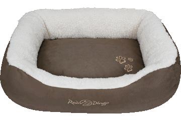 Red Dingo Donut Bed Faux Sheepskin / Dark Brown BD-SN-BR