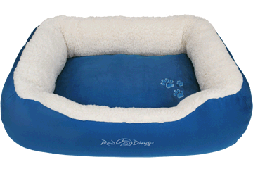 Red Dingo Donut Bed Faux Sheepskin / Dark Blue BD-SN-DB