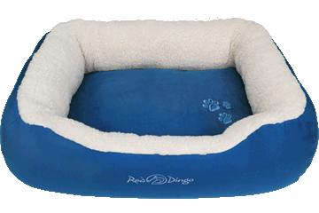 Red Dingo Donut Bed Faux Sheepskin / Dark Blue BD-SN-DB