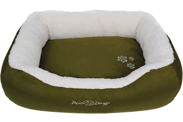 Red Dingo Donut Bed Faux Sheepskin / Army Green BD-SN-GR