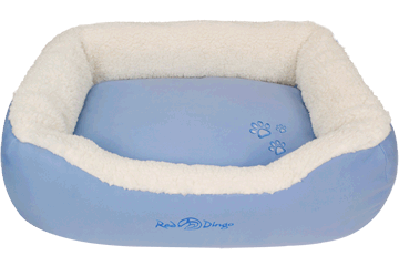 Red Dingo Donut Bed Faux Sheepskin / Light Blue BD-SN-LB