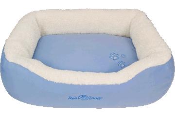 Red Dingo Donut Bed Faux Sheepskin / Light Blue BD-SN-LB