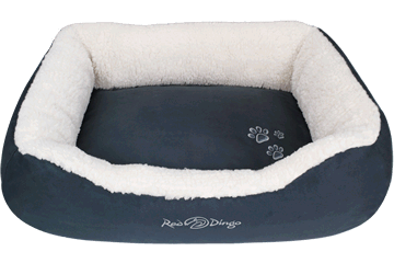 Red Dingo Donut Bed Faux Sheepskin / Dark Grey BD-SN-SI