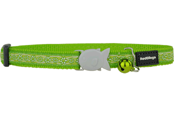 Red Dingo Cat Collar Daisy Chain Lime Green CC-DC-LG