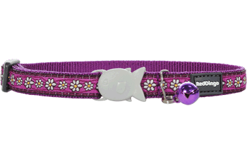 Red Dingo Cat Collar Daisy Chain Viola CC-DC-PU