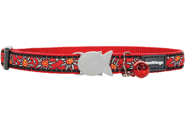 Red Dingo Cat Collar Edelweiss Red CC-ED-RE