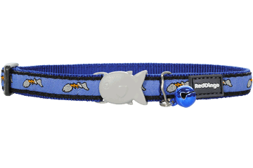 Red Dingo Cat Collar Fish Face Dark Blue CC-FF-DB
