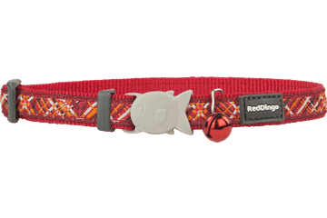 Red Dingo Cat Collar Flanno Red CC-FN-RE