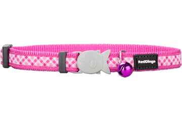 Red Dingo Cat Collar Gingham fel-roze CC-GI-HP