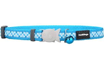 Red Dingo Cat Collar Gingham Turquoise CC-GI-TQ
