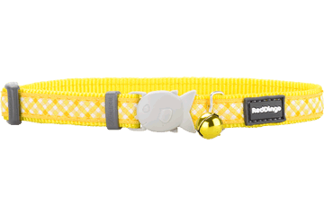 Red Dingo Cat Collar Gingham Yellow CC-GI-YE