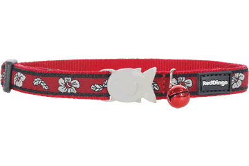 Red Dingo Cat Collar Hibiscus Red CC-HI-RE