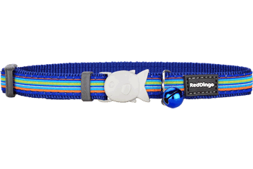 Red Dingo Cat Collar Horizontal Stripes Dark Blue CC-HO-DB