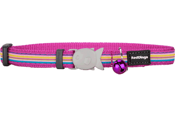 Red Dingo Cat Collar Horizontal Stripes Hot Pink CC-HO-HP