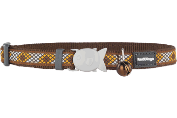 Red Dingo Cat Collar Monty Brown CC-MY-BR