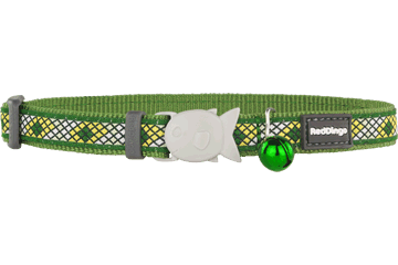 Red Dingo Cat Collar Monty Green CC-MY-GR