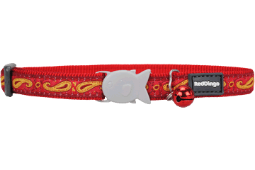 Red Dingo Cat Collar Paisley Red With Gold CC-P1-RE