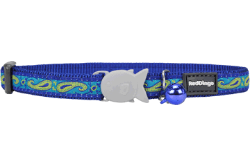 Red Dingo Cat Collar Paisley Dark Blue With Green CC-P2-DB