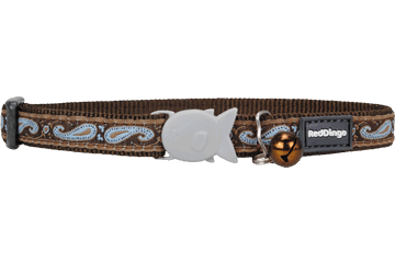Red Dingo Cat Collar Paisley Brown With Blue CC-P3-BR