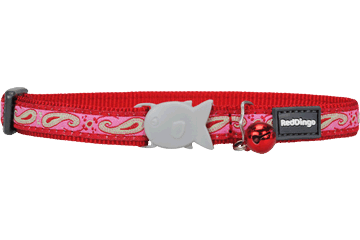 Red Dingo Cat Collar Paisley Red With Pink CC-P4-RE