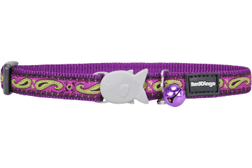 Red Dingo Cat Collar Paisley Purple With Lime Green CC-P7-PU