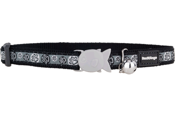 Red Dingo Cat Collar Paw Impressions Black CC-PI-BB