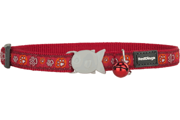 Red Dingo Cat Collar Paw Impressions Rosso CC-PI-RE