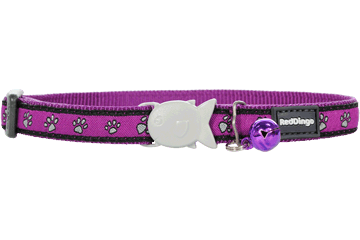 Red Dingo Cat Collar Paw Prints Purple CC-PP-PU