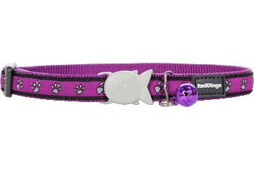 Red Dingo Cat Collar Paw Prints Purple CC-PP-PU