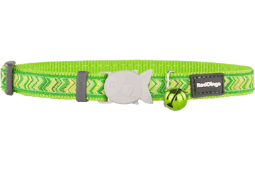 Red Dingo Cat Collar Pizzazz Lime Green CC-PZ-LG