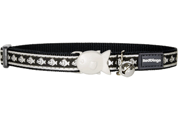 Red Dingo Cat Collar Reflective Fish Black CC-RF-BB