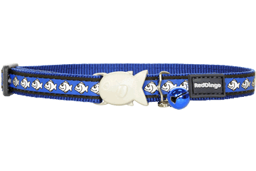 Red Dingo Cat Collar Reflective Fish Dark Blue CC-RF-DB