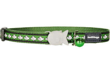 Red Dingo Cat Collar Reflective Fish Green CC-RF-GR