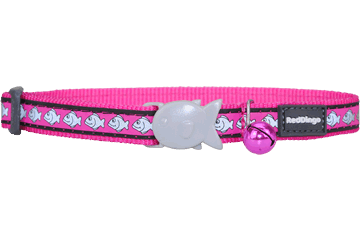 Red Dingo Cat Collar Reflective Fish Hot Pink CC-RF-HP