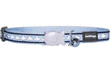 Red Dingo Cat Collar Reflective Fish Light Blue CC-RF-LB
