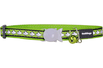 Red Dingo Cat Collar Reflective Fish Lime Green CC-RF-LG