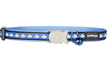 Red Dingo Cat Collar Reflective Fish Medium Blue CC-RF-MB