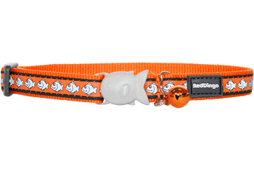 Red Dingo Cat Collar Reflective Fish Orange CC-RF-OR