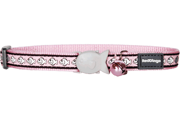 Red Dingo Cat Collar Reflective Fish Rosa CC-RF-PK