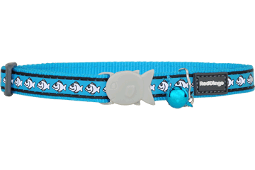 Red Dingo Cat Collar Reflective Fish Turquoise CC-RF-TQ